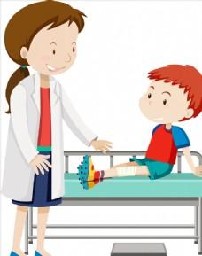 卡通伤病儿童
