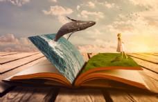 创意书 鲸鱼 大海 女孩
