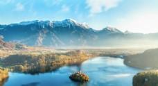 天空 雪山 河流