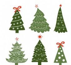 绿色圣诞节装饰松树矢量图