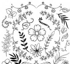 手绘树叶花卉矢量素材
