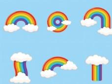 矢量卡通彩虹云朵
