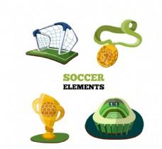 彩色立体足球元素矢量素材