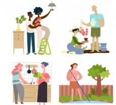 创意做家务的人物矢量素材