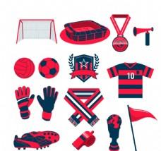 红色足球元素