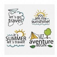 手绘度假旅游图标
