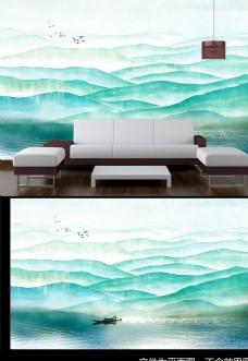 中式山水背景墙