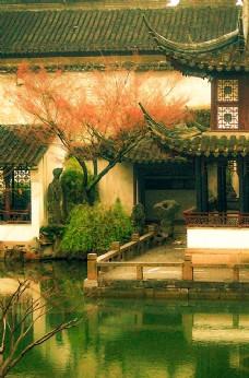 古风水彩庭院