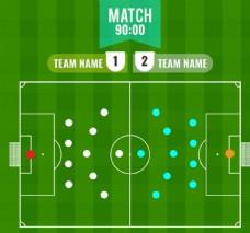 绿色足球赛阵型图矢量素材