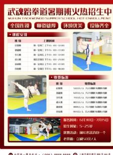 跆拳道暑期招生宣传海报课程安排
