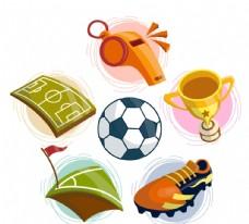 彩色足球元素设计矢量素材