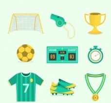 绿色足球元素设计矢量图