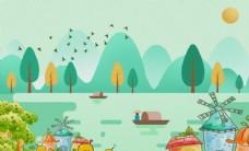森林小鸟小溪城堡渔民电视背景墙