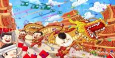 春節新年傳統國風插畫卡通背景