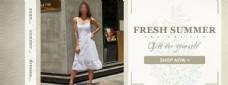 夏季女裙促销海报