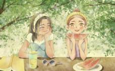夏季西瓜少女清新插畫卡通海報