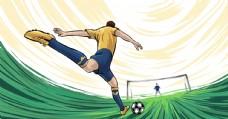足球射门人物速度插画卡通背景