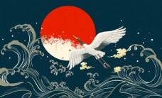 中式仙鹤大气背景墙装饰画