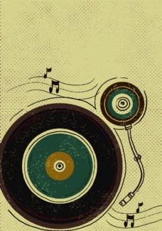 复古留声机卡通海报