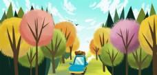 户外郊游旅游小车插画素材