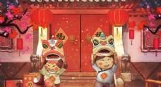 新年舞獅春節人物插畫卡通背景
