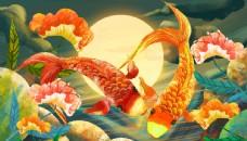 錦鯉金魚龍門古風傳統插畫背景