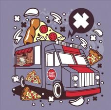 卡通披萨车