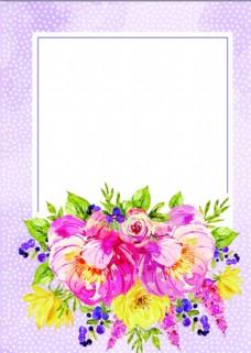 鲜花相框卡通海报