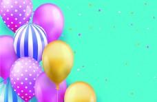 喜庆热烈彩色气球卡通海报