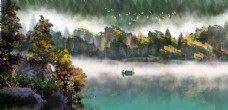山水古風水彩傳統插畫背景