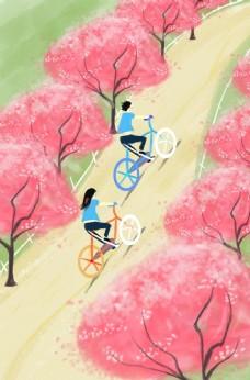 旅游户外骑车人物清新插画背景