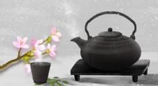 茶壺黑色傳統古風國風背景