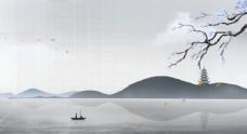 山水古風水墨傳統插畫背景