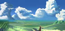 天空蓝色人物插画卡通背景