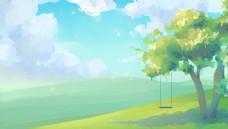 梦幻郊外清新插画卡通背景