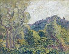 复古色调田园风景油画