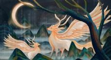 中国风山海经神话九色鹿