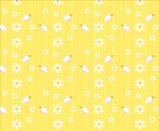 清新黄底小碎花移门图案