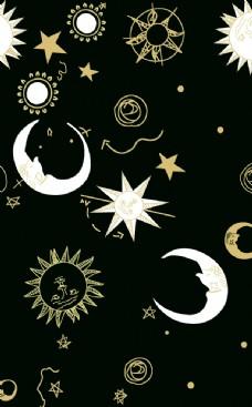 月亮 太阳 星星 数码 印花