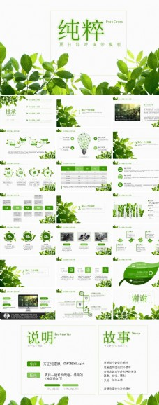 夏日綠葉演示模板