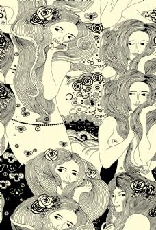 線描女人頭