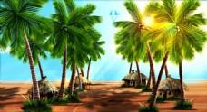 椰子树 热带舞蹈背景