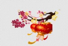 灯笼枝头节日国风海报合成素材