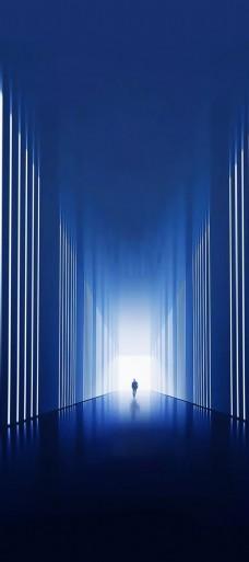 蓝色质感线条光芒地产刷屏背景
