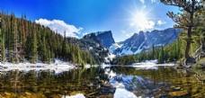 雪山森林平静湖面倒影