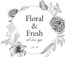獨特復古花卉插圖邊框