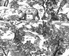 水墨画 豹子