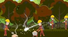 消防员森林灭火
