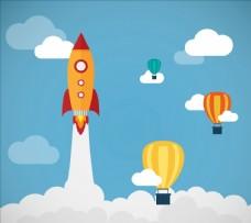 火箭和气球矢量