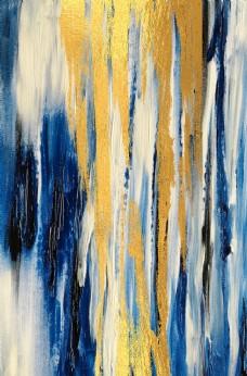 新中式金箔涂鸦布艺蓝色装饰画